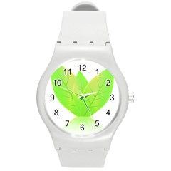 Leaves Green Nature Reflection Round Plastic Sport Watch (M)