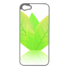 Leaves Green Nature Reflection Apple iPhone 5 Case (Silver)
