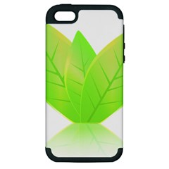 Leaves Green Nature Reflection Apple Iphone 5 Hardshell Case (pc+silicone)
