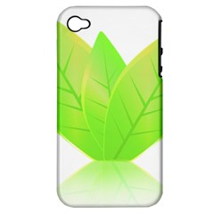 Leaves Green Nature Reflection Apple Iphone 4/4s Hardshell Case (pc+silicone)