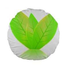 Leaves Green Nature Reflection Standard 15  Premium Round Cushions