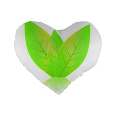 Leaves Green Nature Reflection Standard 16  Premium Heart Shape Cushions