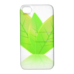 Leaves Green Nature Reflection Apple iPhone 4/4S Hardshell Case with Stand