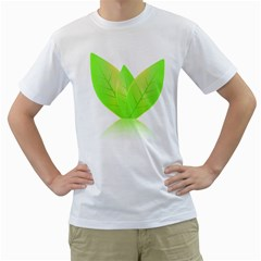Leaves Green Nature Reflection Men s T Shirt (white)