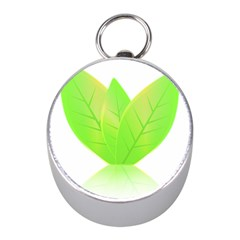 Leaves Green Nature Reflection Mini Silver Compasses
