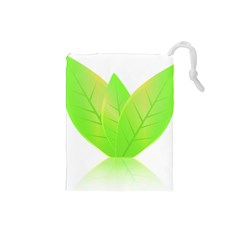Leaves Green Nature Reflection Drawstring Pouches (small)