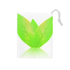 Leaves Green Nature Reflection Drawstring Pouches (medium)