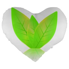 Leaves Green Nature Reflection Large 19  Premium Flano Heart Shape Cushions