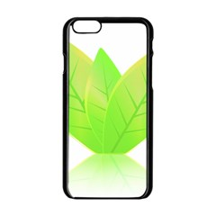 Leaves Green Nature Reflection Apple Iphone 6/6s Black Enamel Case