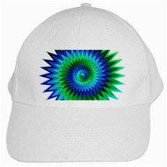 Star 3d Gradient Blue Green White Cap