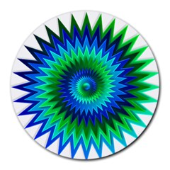 Star 3d Gradient Blue Green Round Mousepads