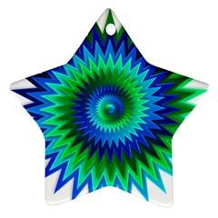 Star 3d Gradient Blue Green Ornament (star)