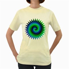 Star 3d Gradient Blue Green Women s Yellow T-Shirt