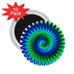 Star 3d Gradient Blue Green 2.25  Magnets (10 pack)