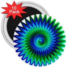 Star 3d Gradient Blue Green 3  Magnets (10 pack)