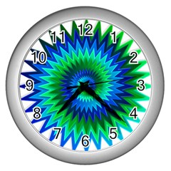 Star 3d Gradient Blue Green Wall Clocks (silver)