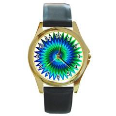 Star 3d Gradient Blue Green Round Gold Metal Watch