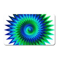 Star 3d Gradient Blue Green Magnet (Rectangular)