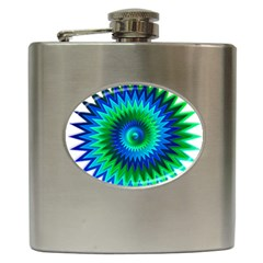 Star 3d Gradient Blue Green Hip Flask (6 Oz)