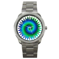 Star 3d Gradient Blue Green Sport Metal Watch