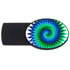 Star 3d Gradient Blue Green Usb Flash Drive Oval (4 Gb)
