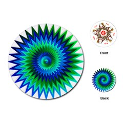 Star 3d Gradient Blue Green Playing Cards (Round)