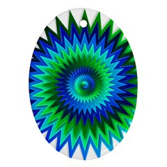 Star 3d Gradient Blue Green Oval Ornament (Two Sides)