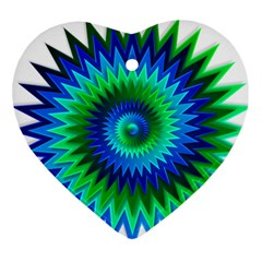 Star 3d Gradient Blue Green Heart Ornament (two Sides)