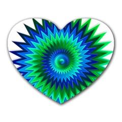 Star 3d Gradient Blue Green Heart Mousepads