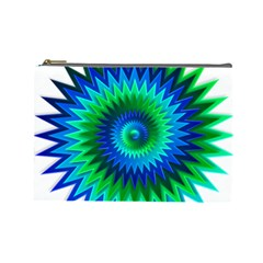 Star 3d Gradient Blue Green Cosmetic Bag (Large)