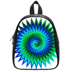 Star 3d Gradient Blue Green School Bags (small)