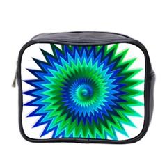 Star 3d Gradient Blue Green Mini Toiletries Bag 2 Side