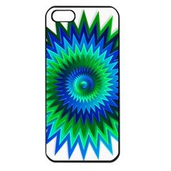 Star 3d Gradient Blue Green Apple iPhone 5 Seamless Case (Black)