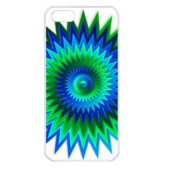 Star 3d Gradient Blue Green Apple iPhone 5 Seamless Case (White)