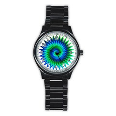Star 3d Gradient Blue Green Stainless Steel Round Watch
