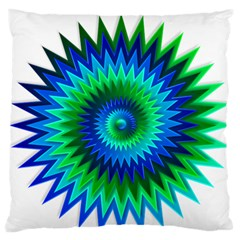 Star 3d Gradient Blue Green Large Flano Cushion Case (two Sides)