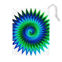 Star 3d Gradient Blue Green Drawstring Pouches (Extra Large)