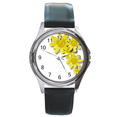 Flowers Spring Yellow Spring Onion Round Metal Watch