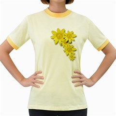 Flowers Spring Yellow Spring Onion Women s Fitted Ringer T-Shirts