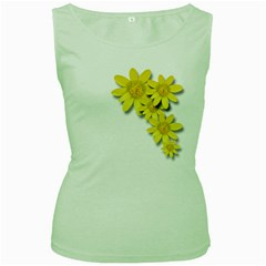 Flowers Spring Yellow Spring Onion Women s Green Tank Top