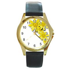 Flowers Spring Yellow Spring Onion Round Gold Metal Watch