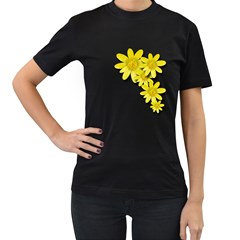 Flowers Spring Yellow Spring Onion Women s T-Shirt (Black) (Two Sided)