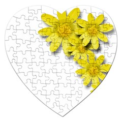 Flowers Spring Yellow Spring Onion Jigsaw Puzzle (Heart)