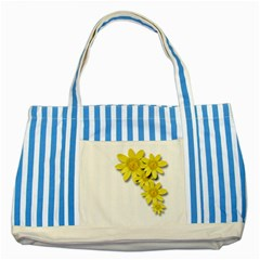 Flowers Spring Yellow Spring Onion Striped Blue Tote Bag