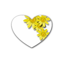 Flowers Spring Yellow Spring Onion Rubber Coaster (heart)