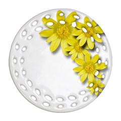 Flowers Spring Yellow Spring Onion Round Filigree Ornament (Two Sides)