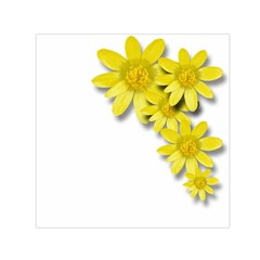 Flowers Spring Yellow Spring Onion Small Satin Scarf (square)