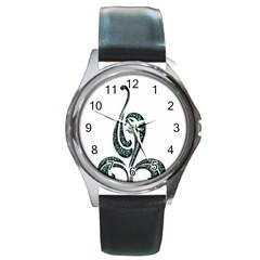 Scroll Retro Design Texture Round Metal Watch
