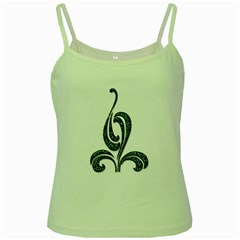 Scroll Retro Design Texture Green Spaghetti Tank