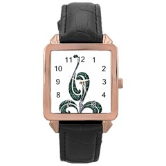 Scroll Retro Design Texture Rose Gold Leather Watch